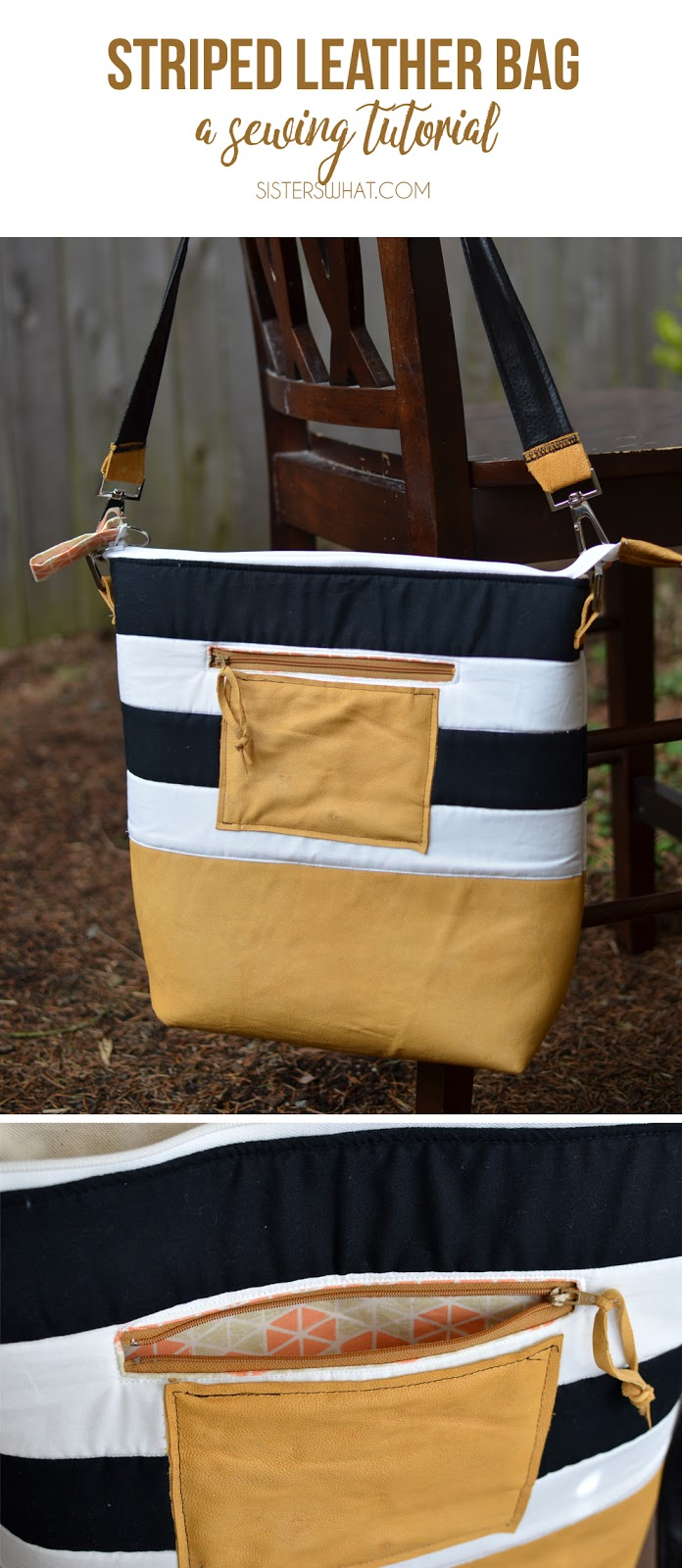 a  diaper bag or an adventure every day bag; made out of leather. An easy sewing tutorial