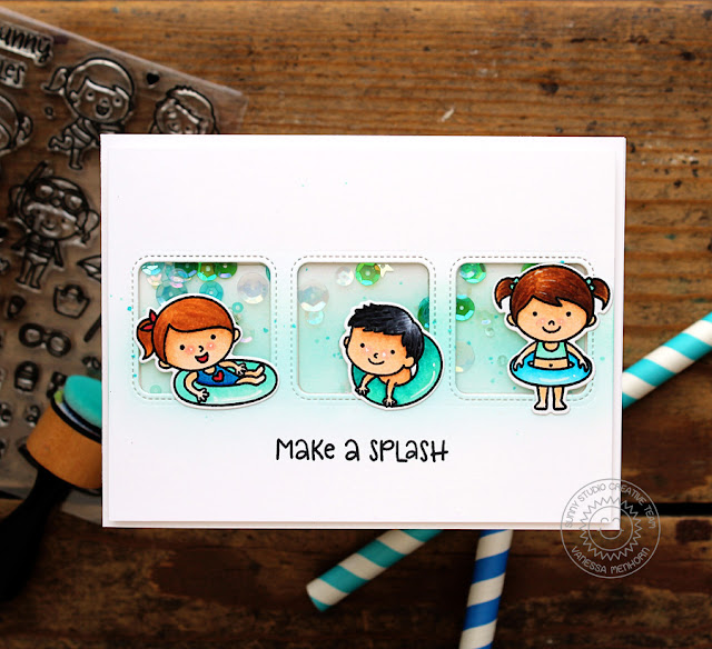 Sunny Studio Stamps: Beach Babies Window Trio Summer Shaker Card by Vanessa Menhorn