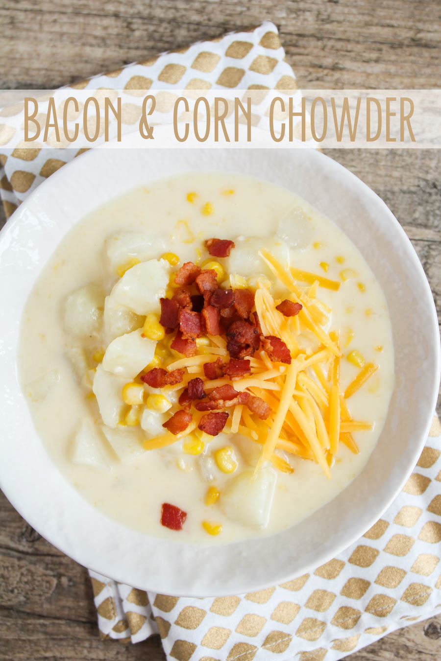 This bacon and corn chowder is perfect for a cold winter night! It's hearty and filling, and so easy to make!