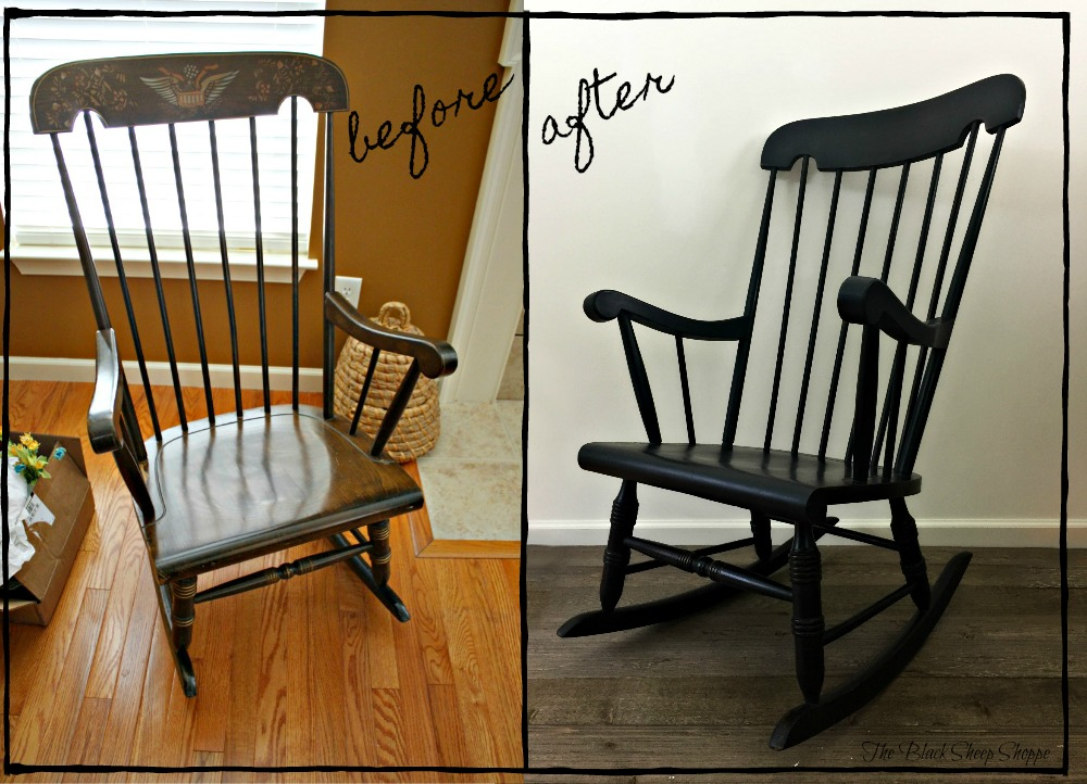 This old rocking chair found at a thrift store was given a new timeless finish in graphite chalk paint.