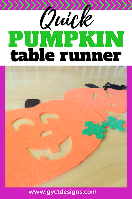 Create this fun fall pumpkin table runner pattern with a little felt and the free PDF or SVG pattern.