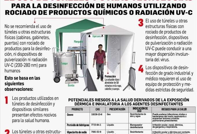Infectólogos advierten de daños a la salud por exposición en túneles de desinfección