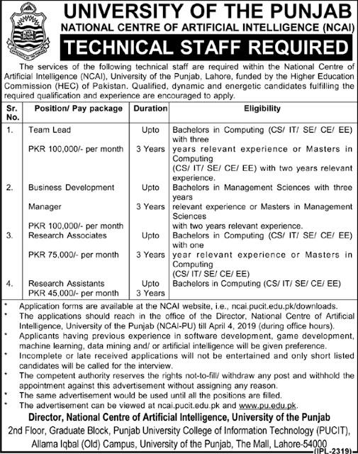 Punjab University Jobs 2019 | NCAI Latest Advertisement