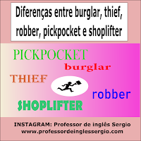 Diferença entre burglar, thief, robber, pickpocket e shoplifter
