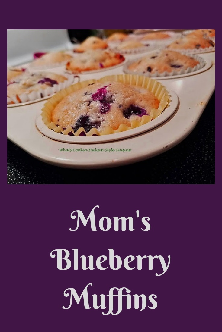 these are homemade from scratch blueberry muffins in a muffin cupcake pan. The muffins are full of blueberries and have a nice crown on top. They are mom's recipe for homemade muffins