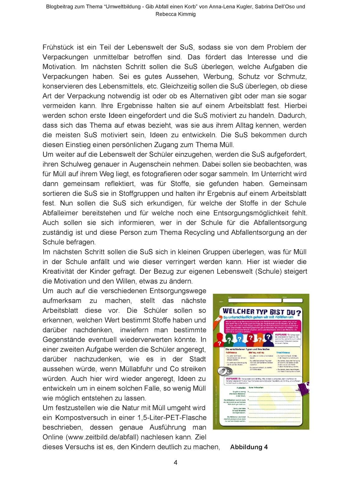Einführung in die Fachdidaktik: Umweltbildung - Gib Abfall einen Korb