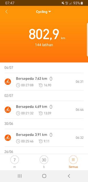 Bersepeda menggunakan Xiaomi Amazfit Bip