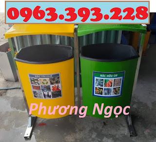 Thùng rác nhựa treo đôi 80L, thùng rác nhựa composite, thùng rác công cộng, thùn 6849df99034751ed07bf3694e80c79ea