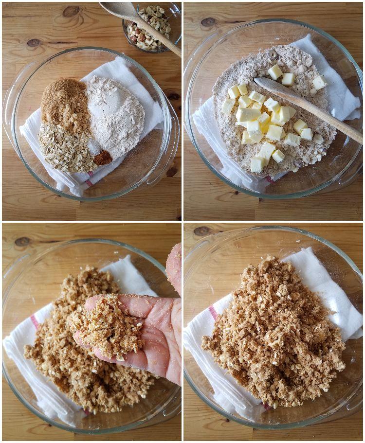 Preparación del crumble con avena, harina y mantequilla