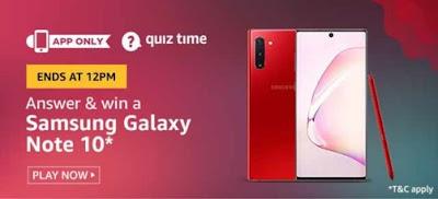 Amazon Quiz Answer Today Samsung Galaxy Note 10