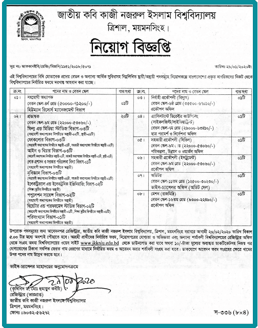 Jatiya Kabi Kazi Nazrul Islam University Job Circular 2020