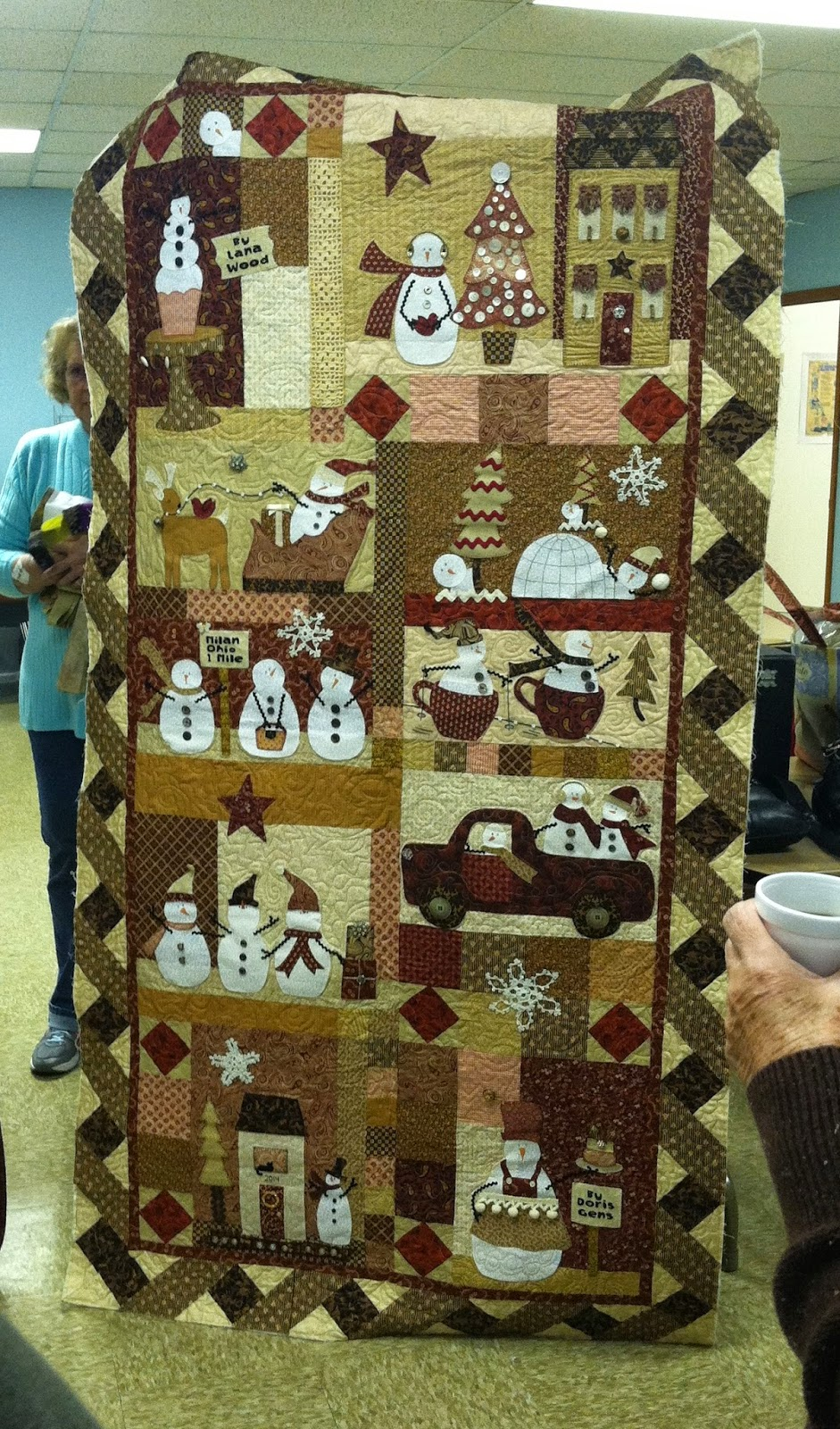 Old Bags Day - Sewing with Friends - Snowman Quilt