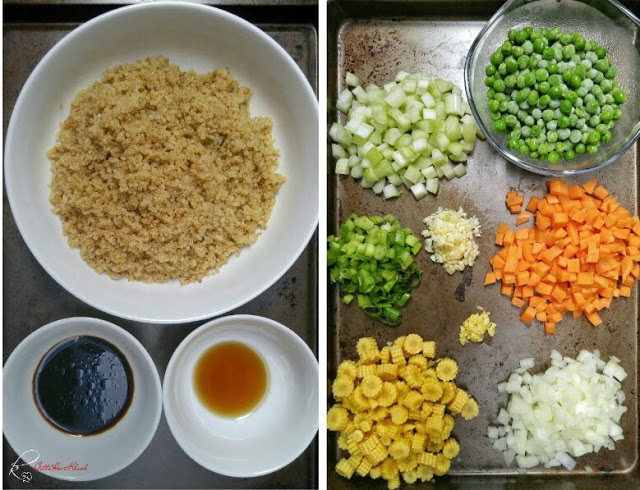 A quick alternative to popular fried rice with quinoa as a substitute.