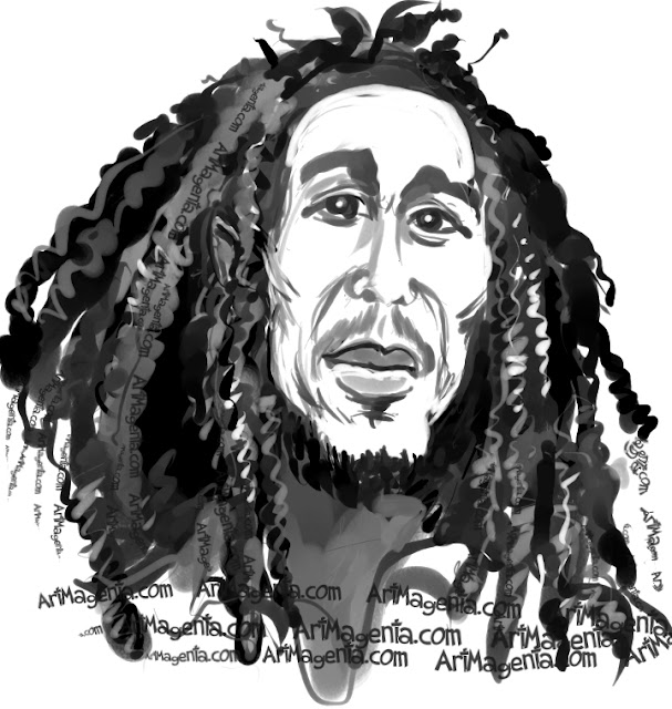 Bob Marley caricature cartoon. Portrait drawing by caricaturist Artmagenta