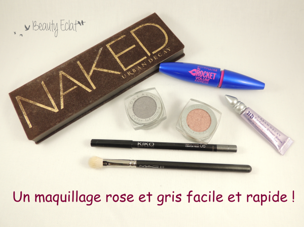tutoriel maquillage rose gris yeux verts