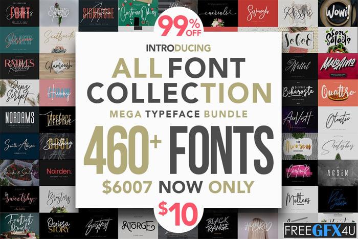 All Fonts Collection Mega Typeface Bundle