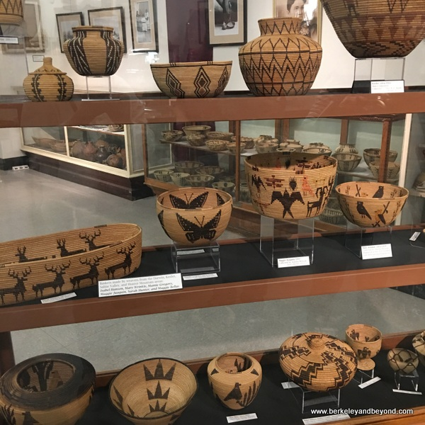 indoor display of Native American baskets at Eastern California Museum in Independence, California
