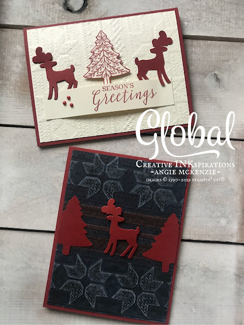 By Angie McKenzie for Global Creative Inkspirations; Click READ or VISIT to go to my blog for details! Featuring the Perfectly Plaid Bundle (available at 10% off) along with the Winter Knit 3D Embossing Folder; #perfectlyplaidbundle #stillscenesstampset #detaileddeerdies #christmascards #cardtechniques #winterknitembossingfolder #stampinup #handmadecards #stampinblends