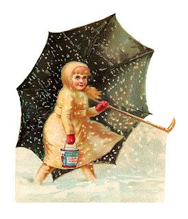 girl snow umbrella illustration victorian old image
