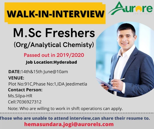 Aurore Life Sciences | Walk-in interview for MSc Freshers on 14&15th Jun 2021