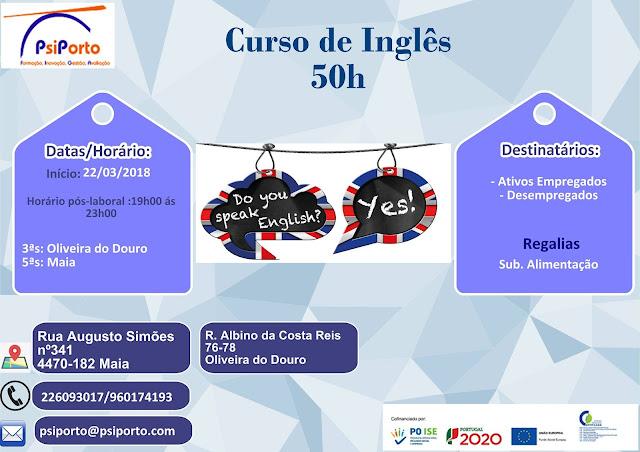 Cursos de Inglês grátis – Maia e Oliveira do Douro