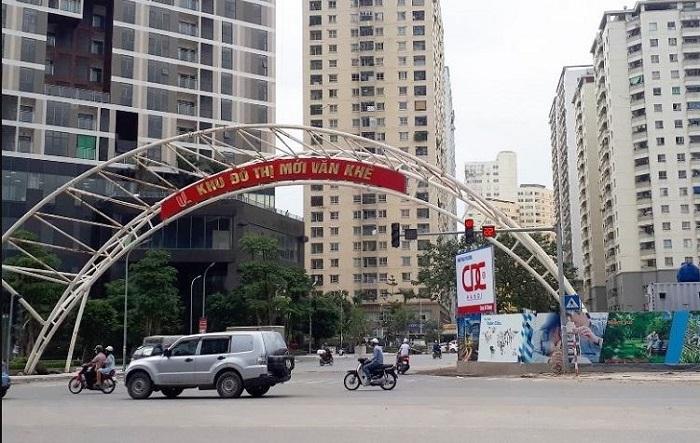 Cổng vào và đường đi tới Khu đô thị Văn Khê