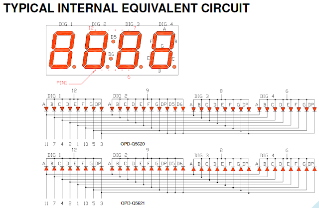 7 segment display internal equivalent circuit OPD-Q5621LE-BW