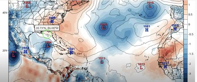 El Modelo Europeo muestra la potencial depresión o tormenta tropical cruzando por el Canal de Yucatán este fin de semana.