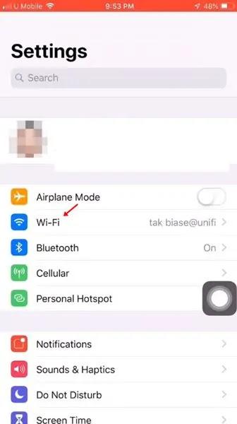 ketuk opsi 'Wi-Fi'