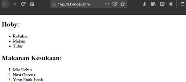 Membuat List Di HTML