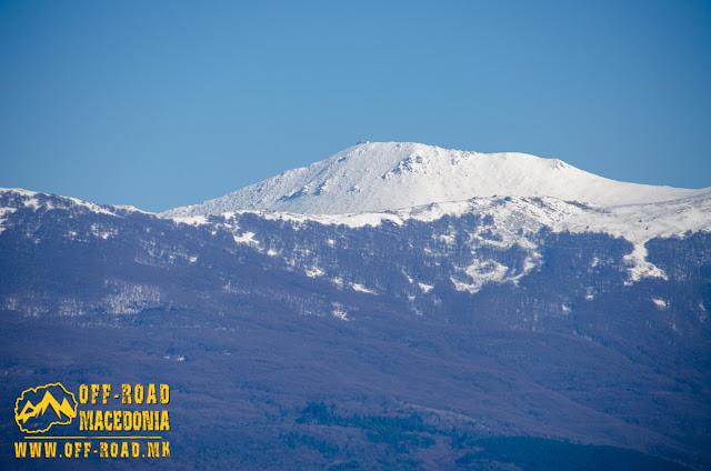 View towards the peak of Baba Mountain - Antenna - from Oteshevo resort, Prespa Lake, Macedonia