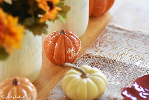 11 Thanksgiving Table Decor Ideas featuring Harvest Tablescape Ideas from the Savvy Saving Couple