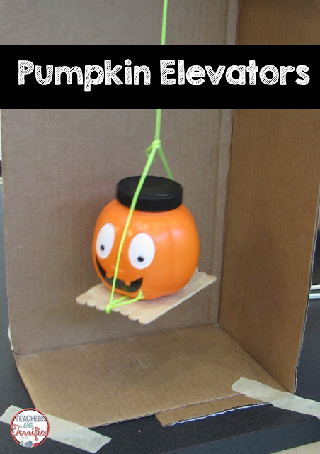 STEM Challenge: Build an elevator to lift a pumpkin! Check the blog post for more  information!