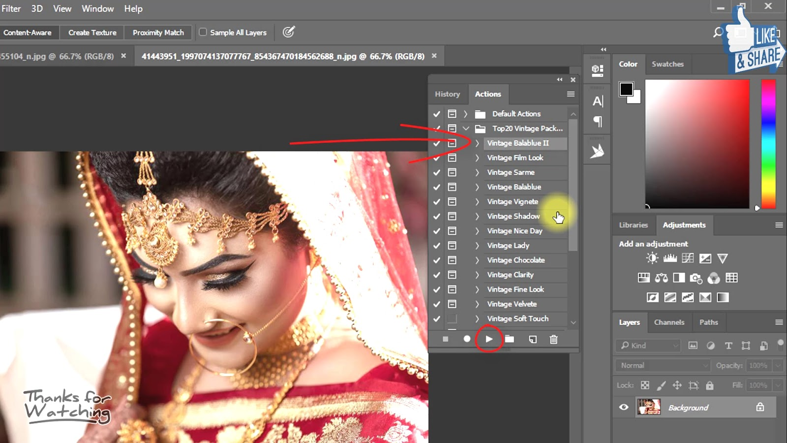 1-Click Automatic Vintage Wedding Effects Photoshop Actions Download 2