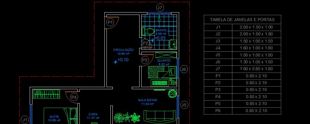 O primeiro passo é criar as legendas. Iremos nomear as legendas das janelas  e portas sequencialmente. As portas serão referenciadas como P1 fb3dab8b31b