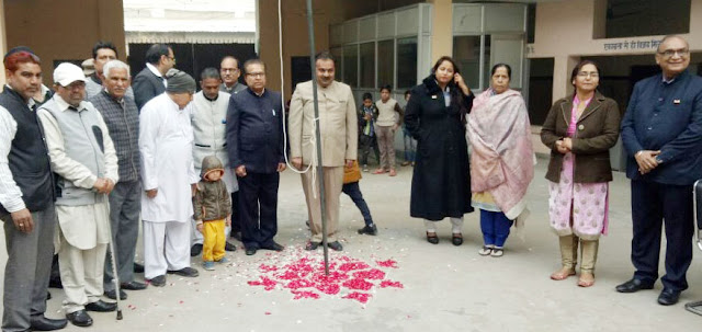 Deep Bhatia vice president of Republic Day Haryana Sports Council at Parm Amarnath High School did the flag