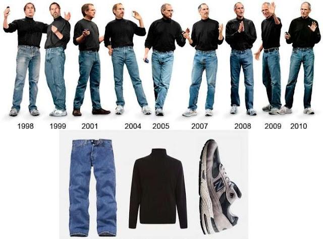 賈伯斯20年如一日的經典黑色高領T恤加牛仔褲,如今還是深深烙印在果粉心中