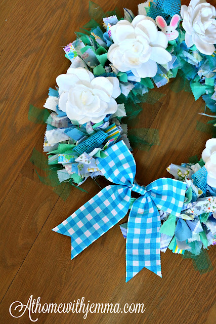 fabric, wreath, rag, spring, handmade, simple, easy, athomewithjemma.com