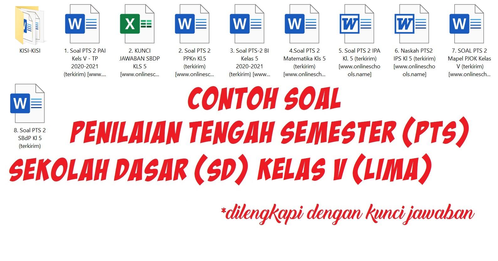 Contoh Soal Penilaian Tengah Semester (PTS) Sekolah Dasar (SD) Kelas V (Lima)
