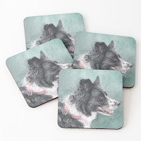 Border Collie painting on a set of coasters
