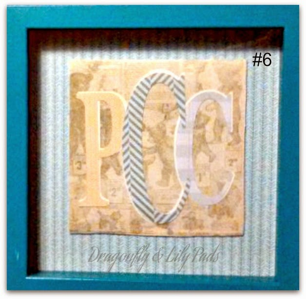Monogram Gifts, Scrapbook Paper, Shadow Box frame from Micheal's,