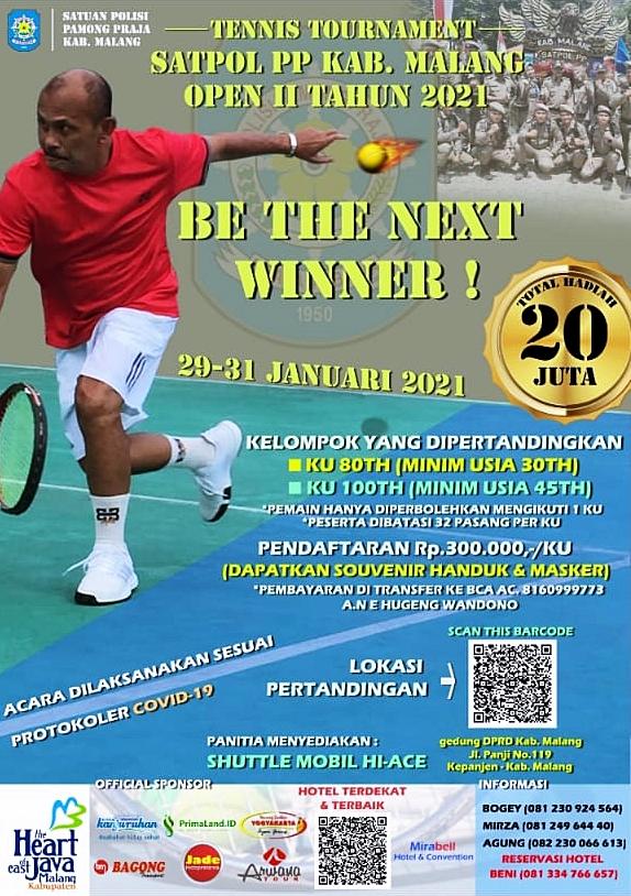 Kejuaraan Tenis SATPOL PP Kab Malang Open II Tahun 2021