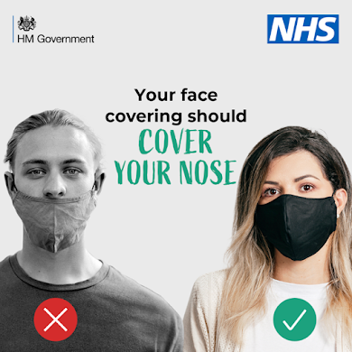 Two people with face coverings, one correct, one below the nose. Face coverings should cover your nose