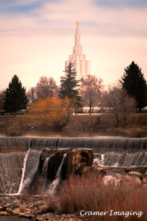 Cramer Imaging's professional quality nature and fine art photograph of the Idaho Falls temple and waterfall landscape in Bonneville, Idaho
