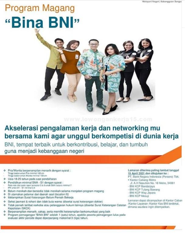SMA SMK D3 S1 Bina BNI Bank Negara Indonesia April 2021