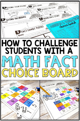 Do you have students who have mastered their addition and subtraction math facts? Help them dive deeper into math fact fluency with this Math Fact Choice Board and enrichment activities and challenges. These hands on projects, activities and printables are fun and engaging and will challenge your second graders.