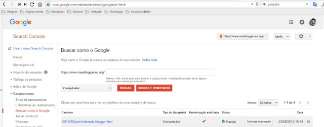 Como saber se o post do blogger foi indexado
