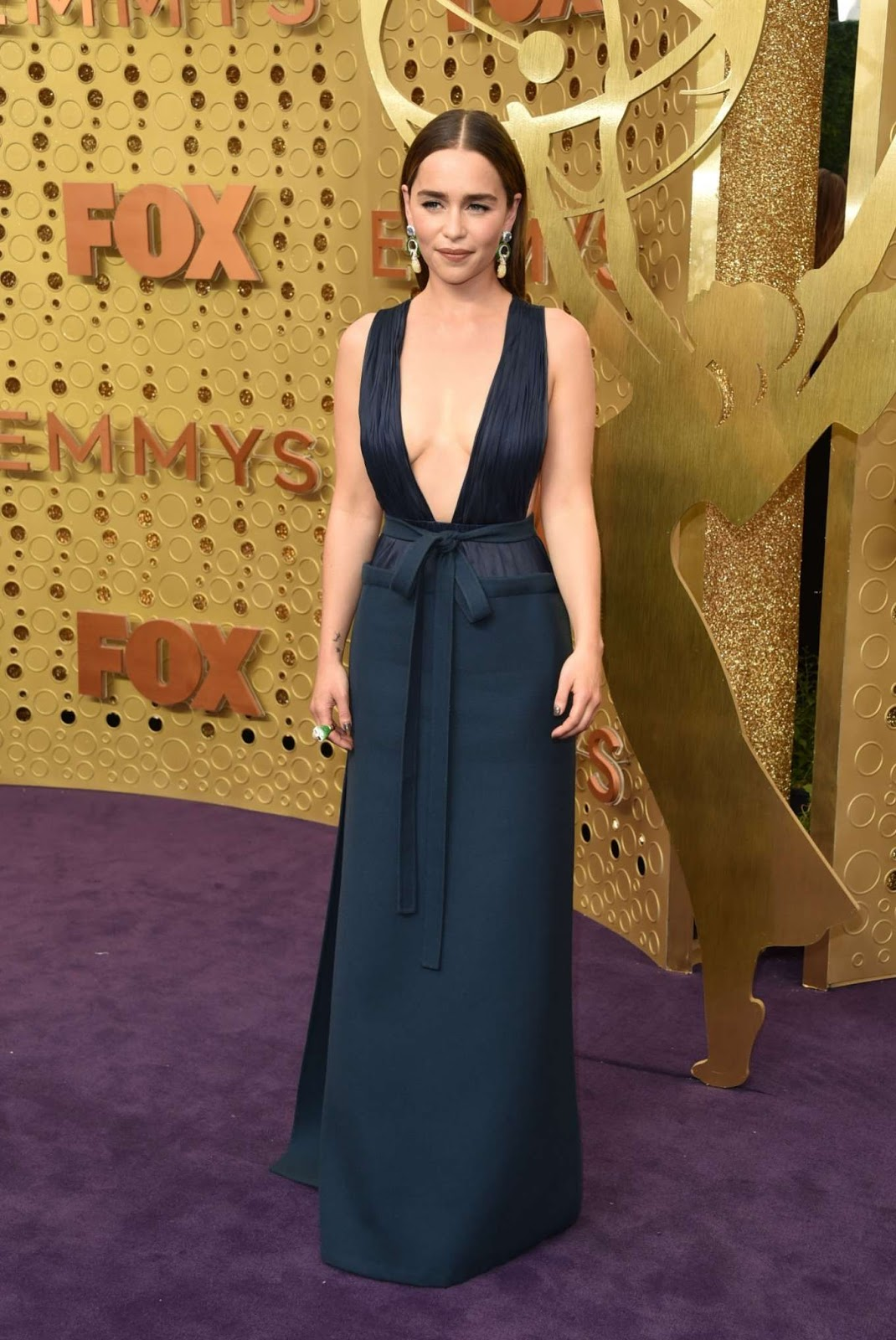 Emilia Clarke bares skin and curves in Valentino at the 2019 Emmy Awards