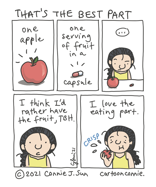 Sketchbook comic strip about taking supplements versus eating actual food, by Connie Sun, cartoonconnie
