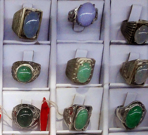 Lavender and Imperial Jade Silver Rings